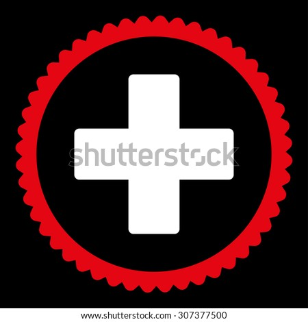 Plus round stamp icon. This flat vector symbol is drawn with red and white colors on a black background. - stock vector