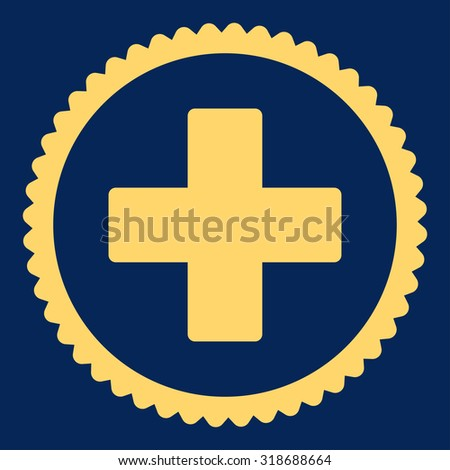 Plus round stamp icon. This flat vector symbol is drawn with yellow color on a blue background. - stock vector