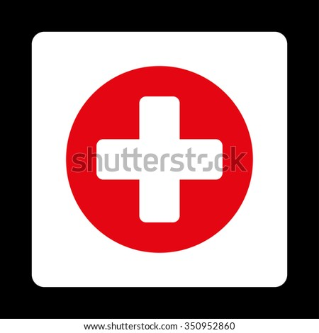 Plus vector icon. Style is flat rounded square button, red and white colors, black background. - stock vector