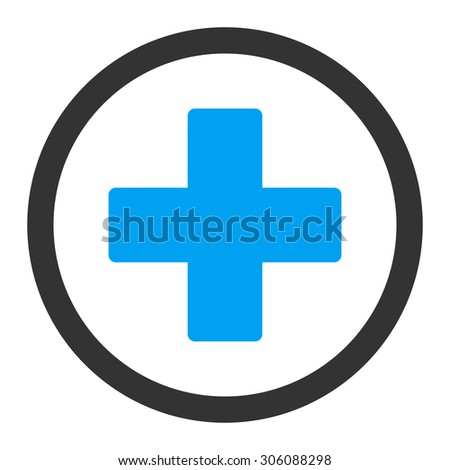 Plus vector icon. This rounded flat symbol is drawn with blue and gray colors on a white background. - stock vector