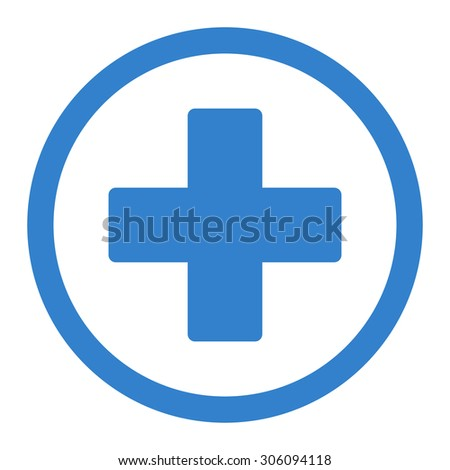 Plus vector icon. This rounded flat symbol is drawn with cobalt color on a white background. - stock vector