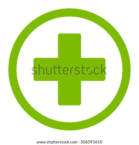 Plus vector icon. This rounded flat symbol is drawn with eco green color on a white background. - stock vector