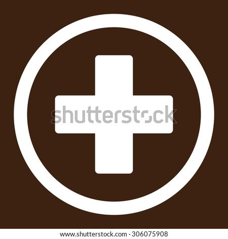 Plus vector icon. This rounded flat symbol is drawn with white color on a brown background. - stock vector