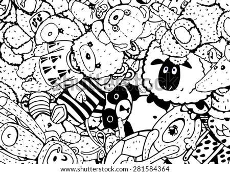 Plush Toys Black and White Background  - stock vector