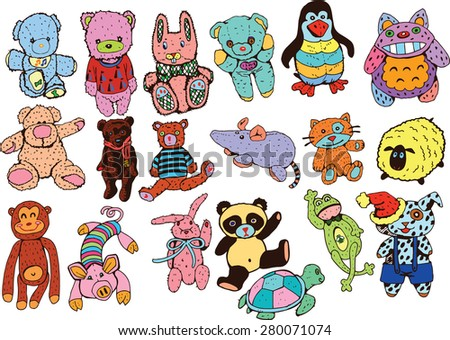 Plush Toys Colorful Collection On White  - stock vector