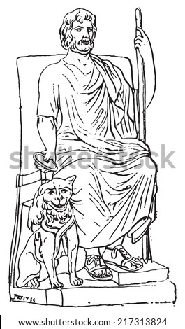 Pluto or Hades, vintage engraved illustration. Dictionary of words and things - Larive and Fleury - 1895. - stock vector