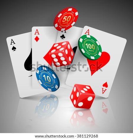 Pocker casino gambling, Casino design concept, vector - stock vector