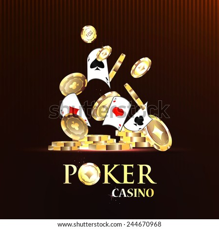 Pocker casino gambling set with cards and chips vector illustration - stock vector
