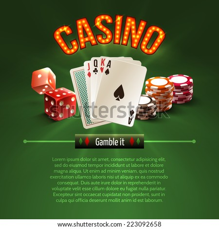 Pocker casino gambling set with dice cards chips on green background vector illustration - stock vector
