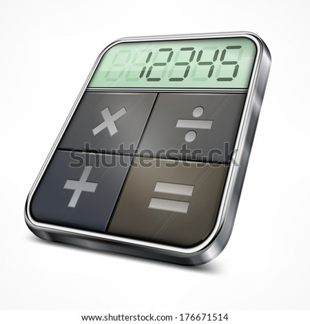 Pocket calculator isolated on white background, vector illustration - stock vector