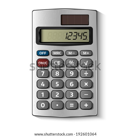 Pocket calculator isolated on white. Vector illustration - stock vector