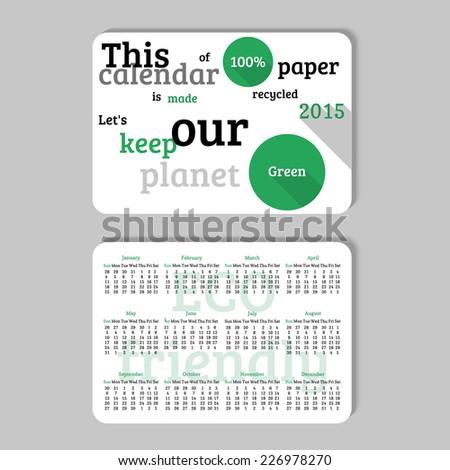 Pocket calendar in minimalistic style. Vector illustration. - stock vector