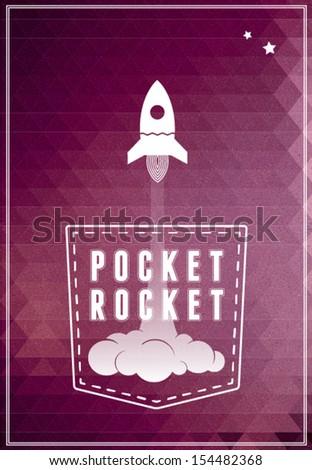 Pocket Rocket conceptual poster, postcard - stock vector