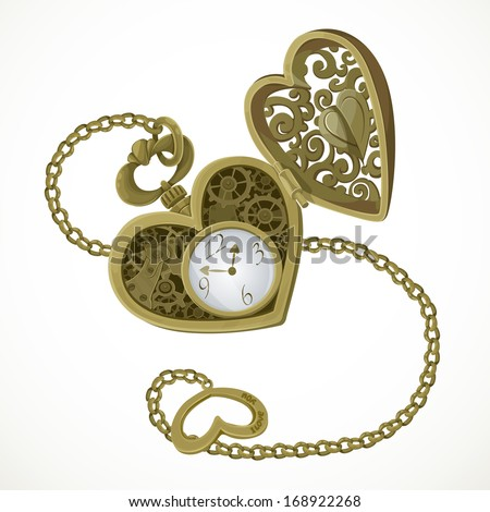 Pocket watch in the form of heart with an engraving I love you - stock vector