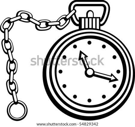 pocket watch with chain - stock vector