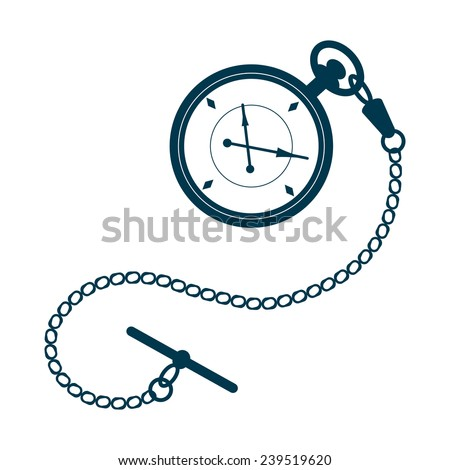 Pocket watch with chain isolated on white background. Watch illustration. Pocket watch vector. Design template for label, banner, badge, logo. Pocket watch vector illustration. - stock vector