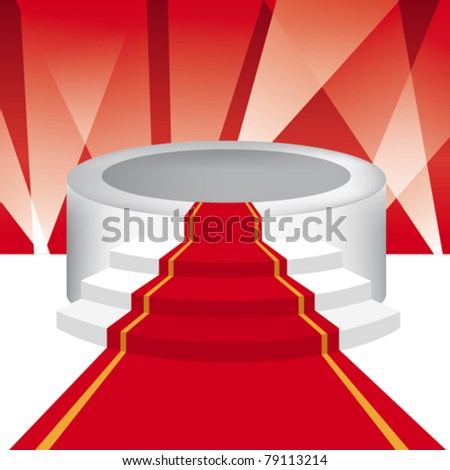 Podium and red carpet for VIP - stock vector