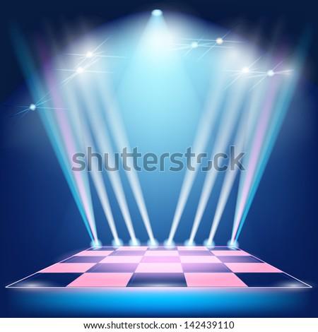 Podium floodlights and spotlights - stock vector