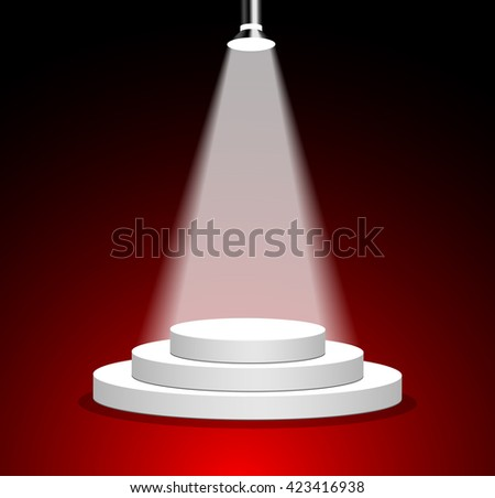 Podium for awards ceremony on red background. Light shines on the white podium. - stock vector
