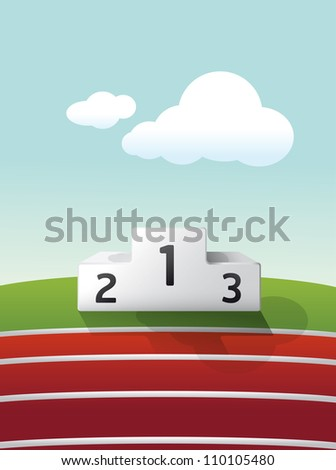 podium sport on grass and track running vector - stock vector