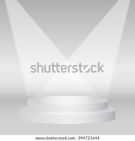 Podium Stage in White Room Vector Background