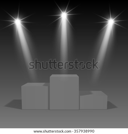 Podium, winners, with a transparent background, illuminated by a spotlight. On a dark background.