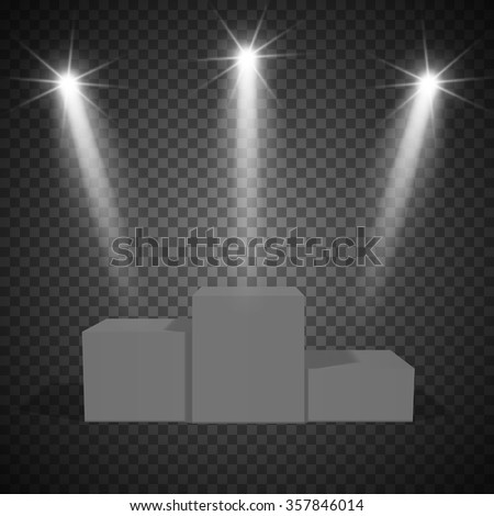 Podium, winners, with a transparent background, illuminated by a spotlight. On a transparent background. - stock vector