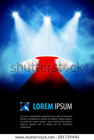 Podium with red carpet at the smoke spotlight - stock vector