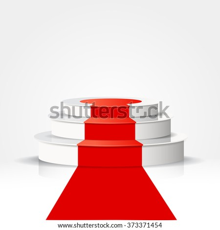 Podium with red carpet isolated on white background. - stock vector