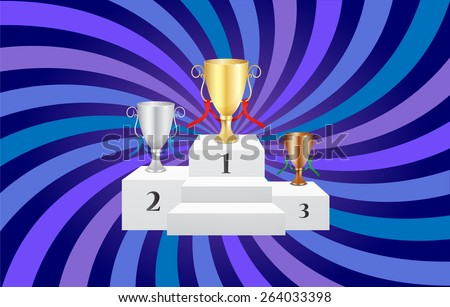 Podium with Trophies and Inspirational Background - Vectors - stock vector