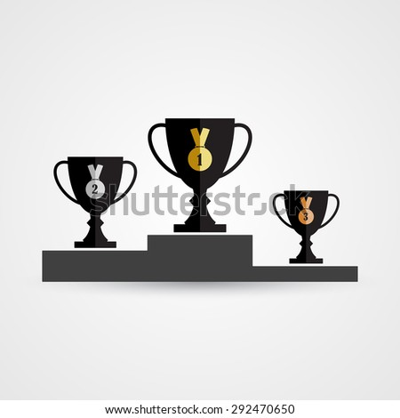 Podium with trophy cups and medals - stock vector