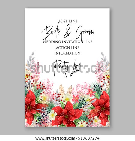 Poinsettia Wedding Invitation Sample Card Beautiful Stock Vector