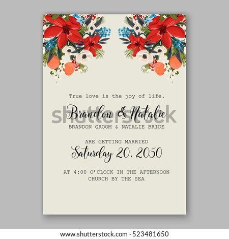 Poinsettia winter Wedding Invitation template card beautiful floral ornament Christmas Party wreath of poinsettia, mandarin, pine branch flower bouquet Bridal shower complimentary template wording