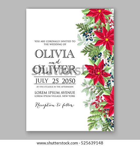 Poinsettia winter Wedding Invitation template card beautiful floral ornament Christmas Party wreath of poinsettia, mandarin, pine branch flower bouquet Bridal shower