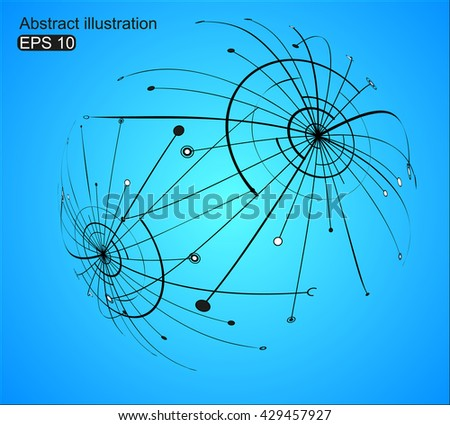Point and curve constructed the sphere wire frame, technological sense abstract illustration.