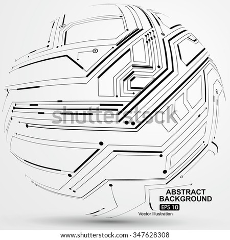 Point and line constructed the sphere wireframe, technological sense abstract illustration. - stock vector