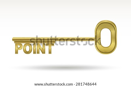 point - golden key isolated on white background