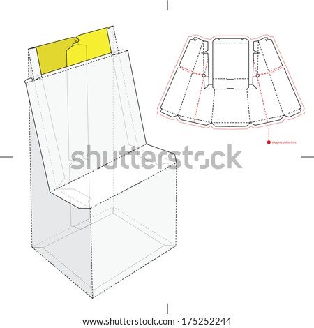 Retail box blueprint template stock vector 486737914 for Point of sale display template