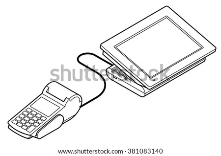 Point of sale (POS) equipment: Point of sale (POS) equipment: a touchscreen cash register connected to a card payment terminal / PIN pad. - stock vector