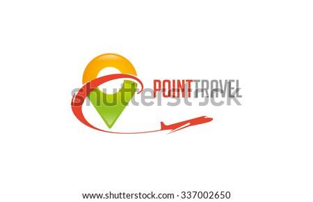 Point Travel Logo - stock vector