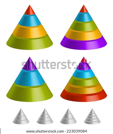 Pointed shapes. Pyramid, triangle charts. - stock vector