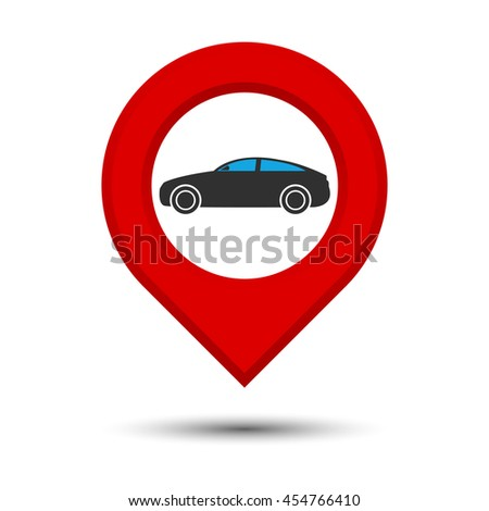 Pointer, car icon. Vector illustration - stock vector