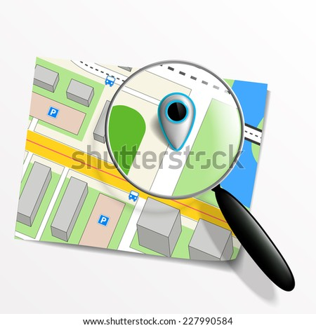 pointer on the map and magnifying glass - stock vector