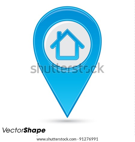 Pointer pin up icon with house, web design element, real estate concept, vector illustration - stock vector