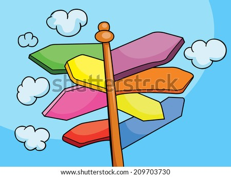 pointer to the path, vector illustration  - stock vector