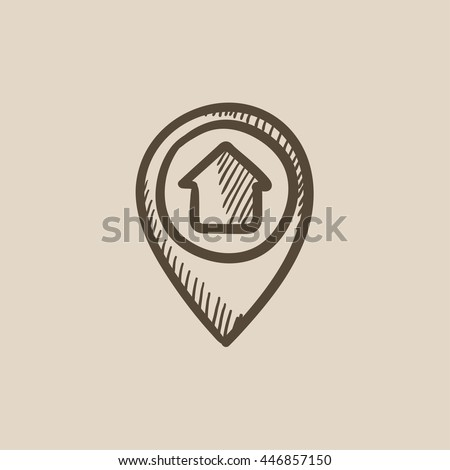 Pointer with house inside vector sketch icon isolated on background. Hand drawn Pointer with house inside icon. Pointer with house inside sketch icon for infographic, website or app.