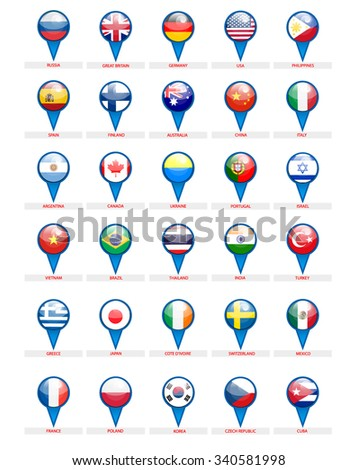 Pointers. Countries of the world. Flags in the blue uniforms. Vector - stock vector