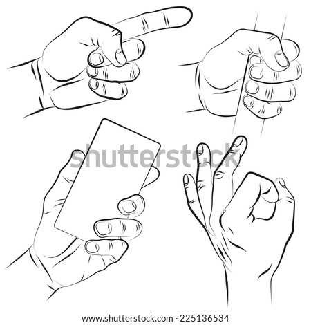 Pointing finger. Forefinger. Clenched fist. Hand holding a smart phone. OK sign with fingers. The hand of man set. - stock vector