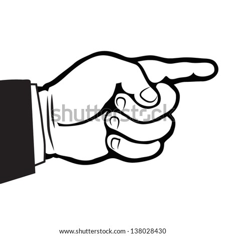 pointing finger-hand direction outline vector - stock vector