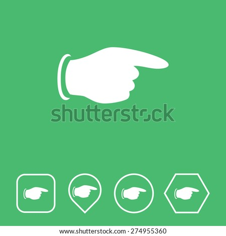 Pointing Finger Icon on Flat UI Colors with Different Shapes. Eps-10. - stock vector